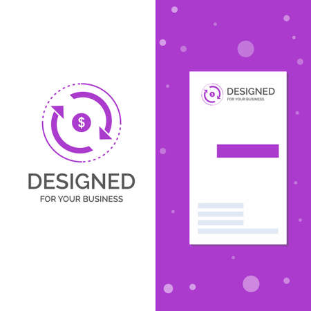 Business Logo for Circulation, finance, flow, market, money. Vertical Purple Business / Visiting Card template. Creative background vector illustration