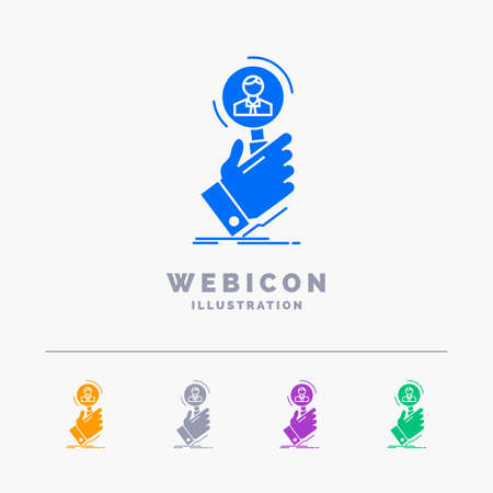 recruitment, search, find, human resource, people 5 Color Glyph Web Icon Template isolated on white. Vector illustration