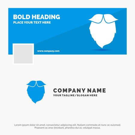 Blue Business Logo Template for moustache, Timeline Banner Design. vector web banner background illustration Logo