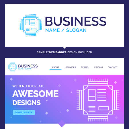 Beautiful Business Concept Brand Name Chip, cpu, microchip, processor, technology Logo Design and Pink and Blue background Website Header Design template. Place for Slogan / Tagline. Exclusive Website banner and Business Logo design Template