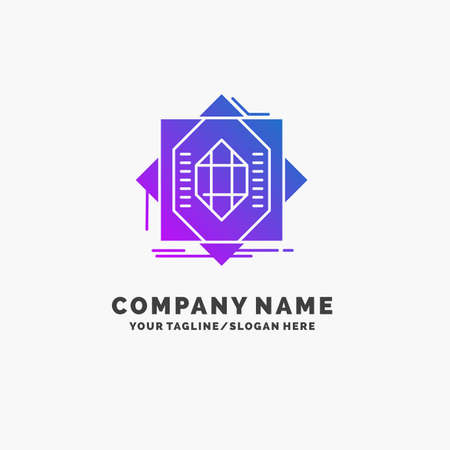 Abstract, core, fabrication, formation, forming Purple Business Logo Template. Place for Tagline.