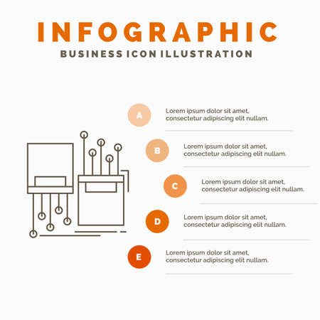 digital, fiber, electronic, lane, cable Infographics Template for Website and Presentation. Line Gray icon with Orange infographic style vector illustration
