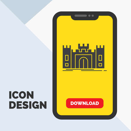 Castle, defense, fort, fortress, landmark Glyph Icon in Mobile for Download Page. Yellow Background