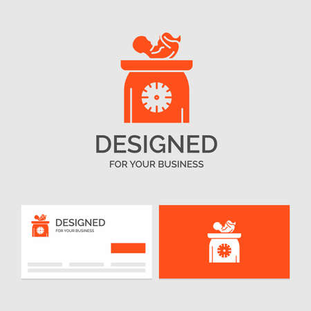 Business logo template for weight, baby, New born, scales, kid. Orange Visiting Cards with Brand logo template.