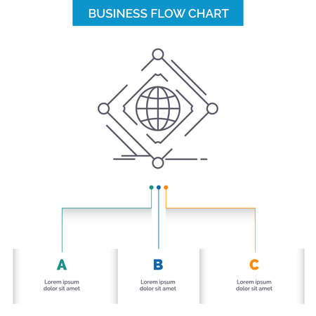 Complex, global, internet, net, web Business Flow Chart Design with 3 Steps. Line Icon For Presentation Background Template Place for text