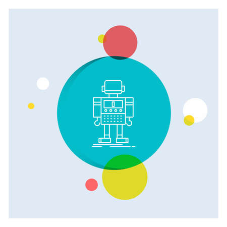 autonomous, machine, robot, robotic, technology White Line Icon colorful Circle Background
