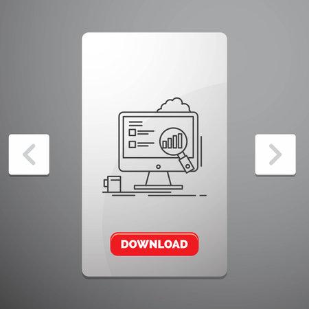 analytics, board, presentation, laptop, statistics Line Icon in Carousal Pagination Slider Design & Red Download Button