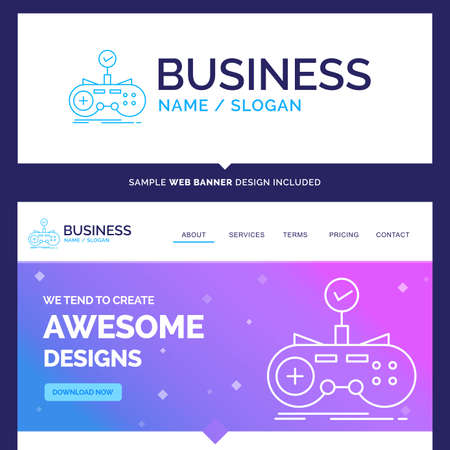 Beautiful Business Concept Brand Name Check, controller, game, gamepad, gaming Logo Design and Pink and Blue background Website Header Design template. Place for Slogan / Tagline. Exclusive Website banner and Business Logo design Template