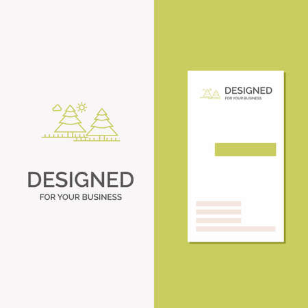 Business Logo for forest, camping, jungle, tree, pines. Vertical Green Business / Visiting Card template. Creative background vector illustration