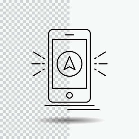navigation, app, camping, gps, location Line Icon on Transparent Background. Black Icon Vector Illustration