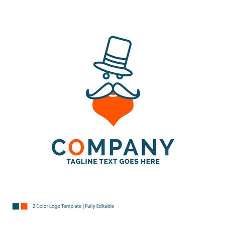 moustache, Hipster, Santa Clause, Hat Logo Design. Blue and Orange Brand Name Design. Place for Tagline. Business Logo template. Logo