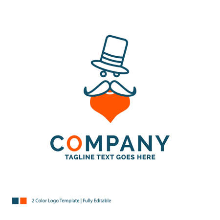 moustache, Hipster, Santa Clause, Hat Logo Design. Blue and Orange Brand Name Design. Place for Tagline. Business Logo template.