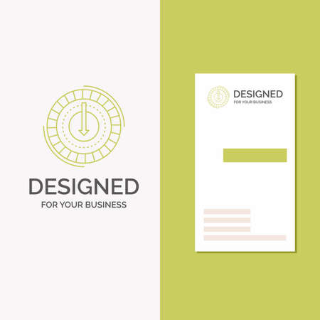 Business Logo for Consumption, cost, expense, lower, reduce. Vertical Green Business / Visiting Card template. Creative background vector illustration