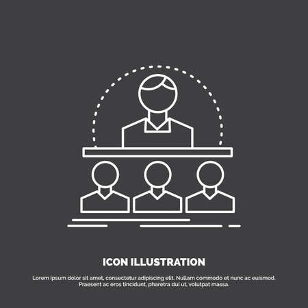 Business, coach, course, instructor, mentor Icon. Line vector symbol for UI and UX, website or mobile application Ilustração