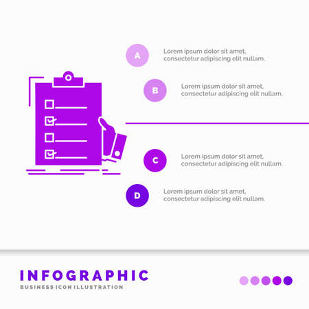 checklist, check, expertise, list, clipboard Infographics Template for Website and Presentation. GLyph Purple icon infographic style vector illustration.