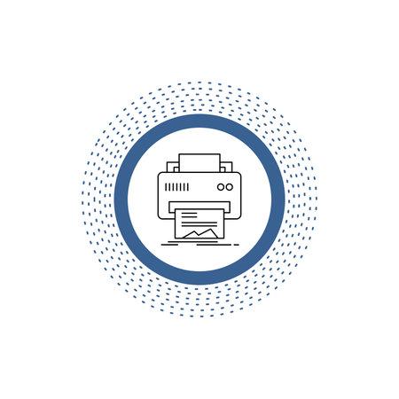 Digital, printer, printing, hardware, paper Line Icon. Vector isolated illustration