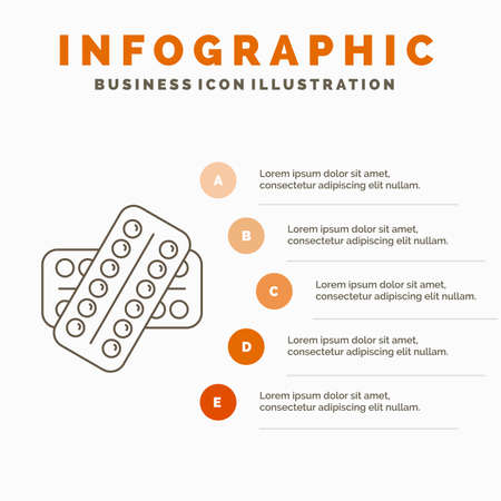 medicine, Pill, drugs, tablet, patient Infographics Template for Website and Presentation. Line Gray icon with Orange infographic style vector illustration