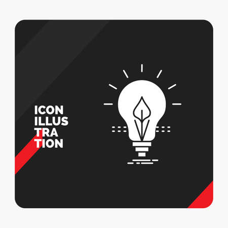 Red and Black Creative presentation Background for bulb, idea, electricity, energy, light Glyph Icon