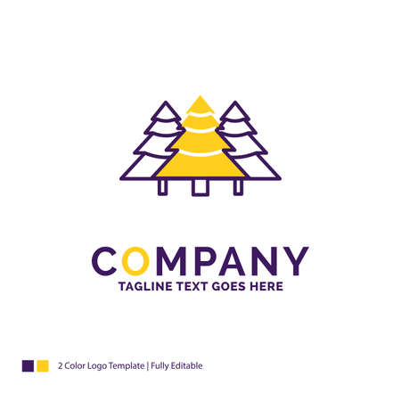 Company Name Logo Design For forest, camping, jungle, tree, pines. Purple and yellow Brand Name Design with place for Tagline. Creative Logo template for Small and Large Business.