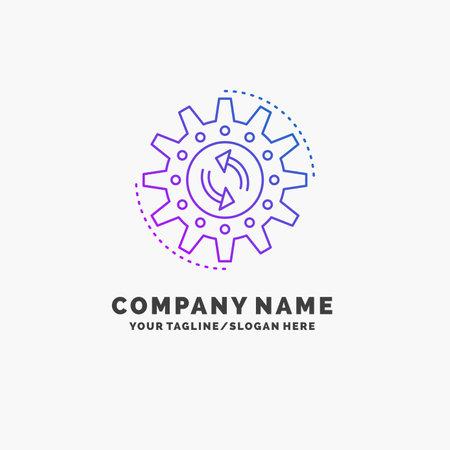 management, process, production, task, work Purple Business Logo Template. Place for Tagline