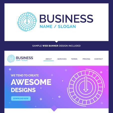 Beautiful Business Concept Brand Name Consumption, cost, expense, lower, reduce Logo Design and Pink and Blue background Website Header Design template. Place for Slogan / Tagline. Exclusive Website banner and Business Logo design Template