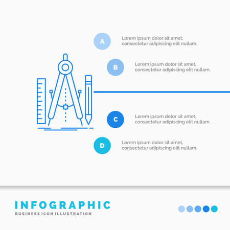 Build, design, geometry, math, tool Infographics Template for Website and Presentation. Line Blue icon infographic style vector illustration