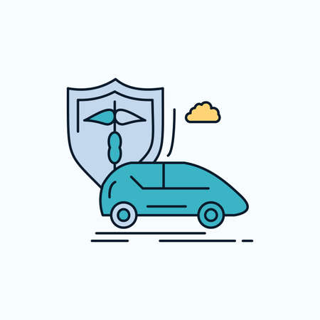 car, hand, insurance, transport, safety Flat Icon. green and Yellow sign and symbols for website and Mobile appliation. vector illustration