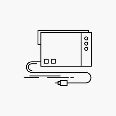 audio, card, external, interface, sound Line Icon. Vector isolated illustration