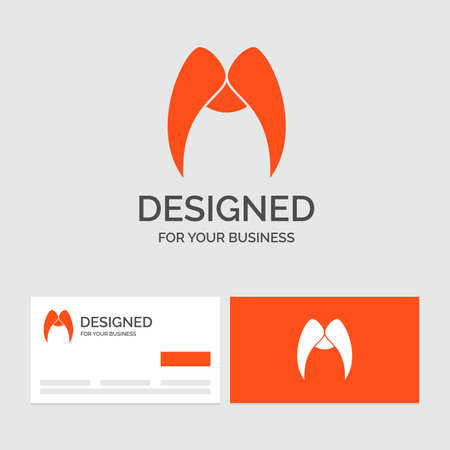 Business template for moustache, Hipster, November, male, men. Orange Visiting Cards with Brand template.