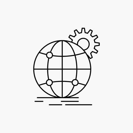 international, business, globe, world wide, gear Line Icon. Vector isolated illustration