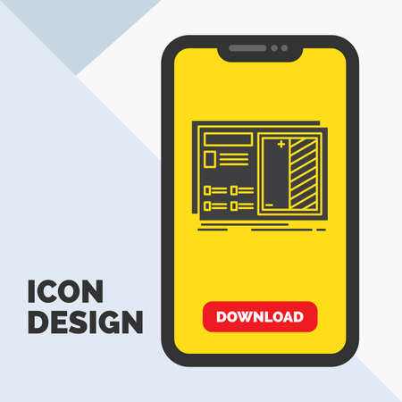 Blueprint, design, drawing, plan, prototype Glyph Icon in Mobile for Download Page. Yellow Background