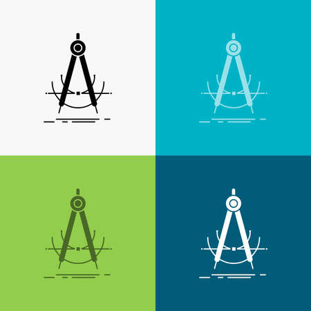 Precision, accure, geometry, compass, measurement Icon Over Various Background. glyph style design, designed for web and app.