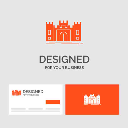 Business template for Castle, defense, fort, fortress, landmark. Orange Visiting Cards with Brand template.