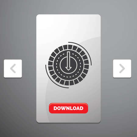 Consumption, cost, expense, lower, reduce Glyph Icon in Carousal Pagination Slider Design & Red Download Button Vecteurs