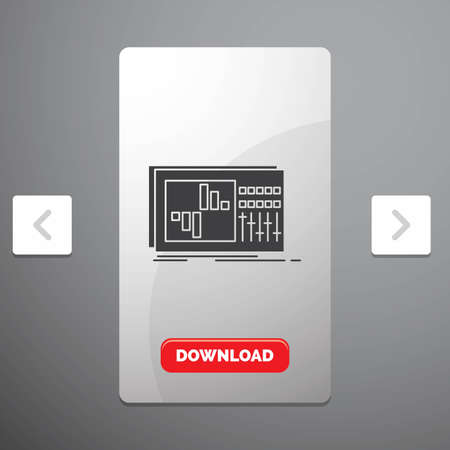 control, equalizer, equalization, sound, studio Glyph Icon in Carousal Pagination Slider Design & Red Download Button