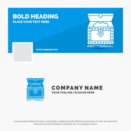 Blue Business Logo Template for Box, chest, gold, reward, treasure. Timeline Banner Design. vector web banner background illustration