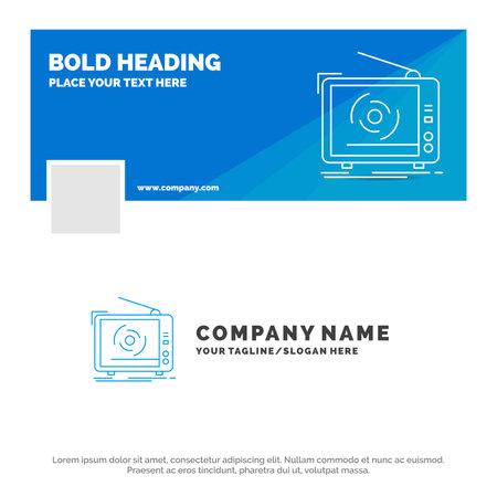 Blue Business Logo Template for tv, ad, advertising, television, set. social media Timeline Banner Design. vector web banner background illustration Ilustracja