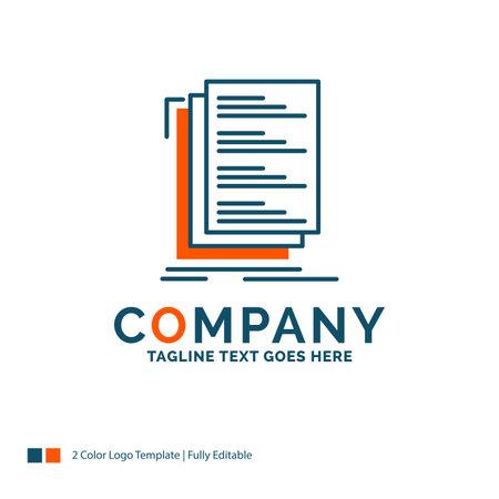 Code, coding, compile, files, list Logo Design. Blue and Orange Brand Name Design. Place for Tagline. Business Logo template.
