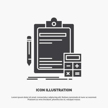 Accounting, banking, calculator, finance, Audit Icon. glyph vector gray symbol for UI and UX, website or mobile application