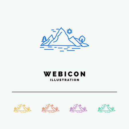 Nature, hill, landscape, mountain, tree 5 Color Line Web Icon Template isolated on white. Vector illustration