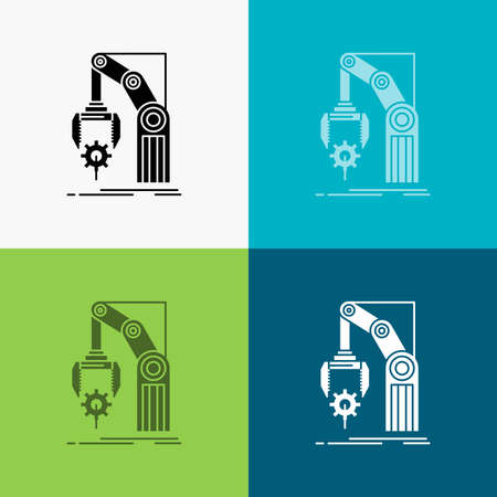 Automation, factory, hand, mechanism, package Icon Over Various Background. glyph style design, designed for web and app. Eps 10 vector illustration