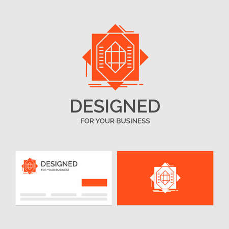 Business logo template for Abstract, core, fabrication, formation, forming. Orange Visiting Cards with Brand logo template.