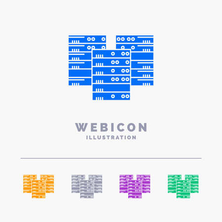 Center, centre, data, database, server 5 Color Glyph Web Icon Template isolated on white. Vector illustration
