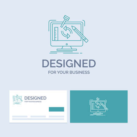 engineering, project, tools, workshop, processing Business Logo Line Icon Symbol for your business. Turquoise Business Cards with Brand logo template