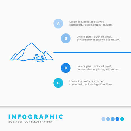 mountain, landscape, hill, nature, tree Infographics Template for Website and Presentation. Line Blue icon infographic style vector illustration