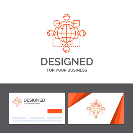 Business logo template for Function, instruction, logic, operation, meeting. Orange Visiting Cards with Brand logo template