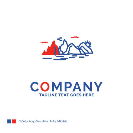 Company Name Logo Design For Mountain, hill, landscape, nature, cliff. Blue and red Brand Name Design with place for Tagline. Abstract Creative Logo template for Small and Large Business.