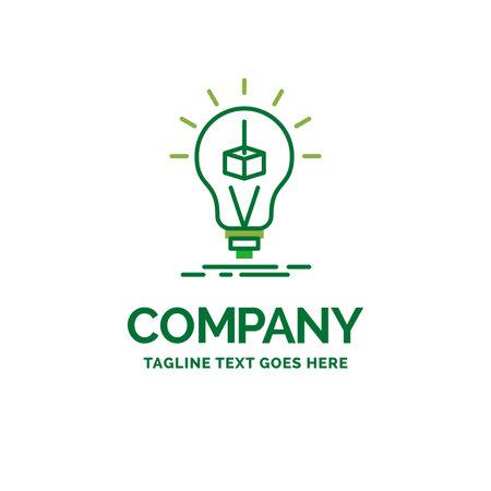 3d Cube, idea, bulb, printing, box Flat Business Logo template. Creative Green Brand Name Design.