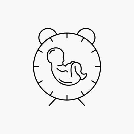 delivery, time, baby, birth, child Line Icon. Vector isolated illustration 矢量图像