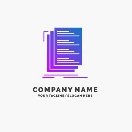 Code, coding, compile, files, list Purple Business Logo Template. Place for Tagline.